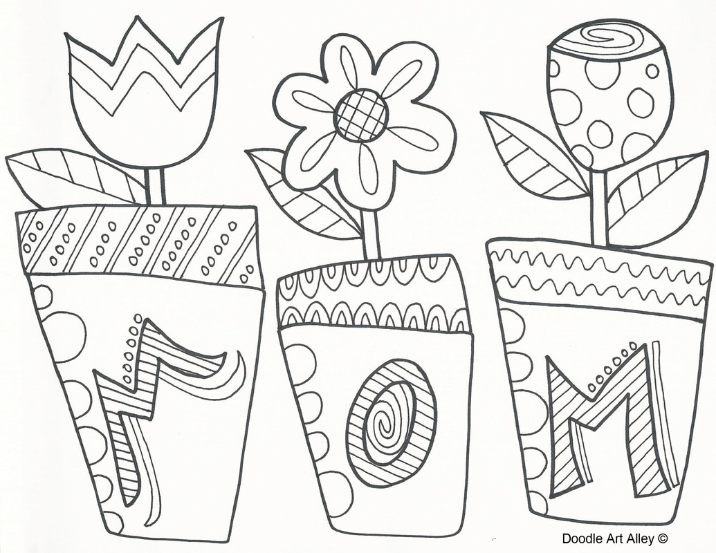 Flower Pot Mother's Day Coloring Page | Little Village Kids